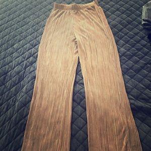 Tan silky palazzo pants